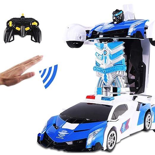 Vuffuw Transform RC Car Robot, 360° Giratorio Toys Transformer Robot Car, Juguete de un botón para deformación de Gestos con Sonidos y Luces LED para ...