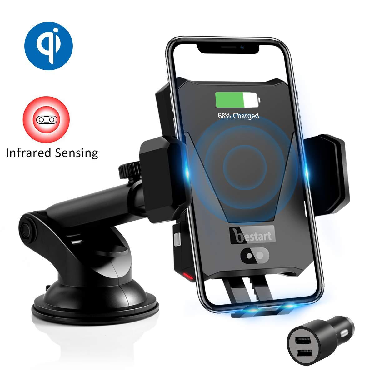 Samsung Note 9//S9 ZealSound 2 In 1 Telefonhalter mit automatischem Infrarot-Sensor-Design mit QC 3.0-Kfz-Adapter kompatibel mit iPhone XS//Max//X//XR //8//8 Plus Qi Auto Wireless Charger // S8 usw