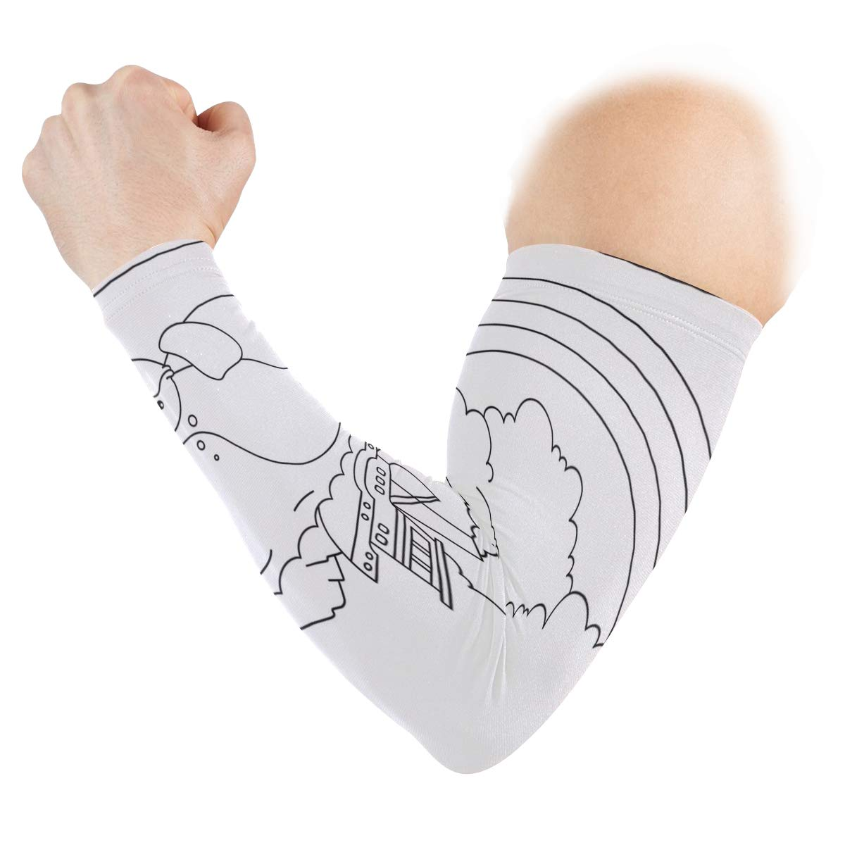 Arm Sleeves Various Cartoon Characters Background Man Baseball Long Cooling Sleeves Sun UV Compression Arm Covers