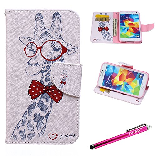 Galaxy S5 Case, Firefish [Kickstand] [Bumper] Case Flip PU Leather Wallet with Card Slot Magnetic Closure Protection phone case for Samsung Galaxy S5 - Giraffe