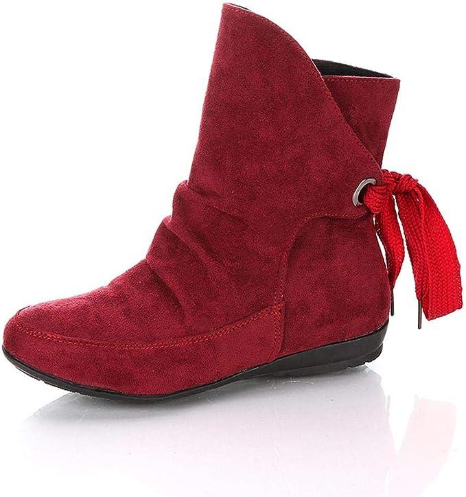 Logobeing Zapatos Mujer Botines Mujer Tacon Medio Planos Invierno ...