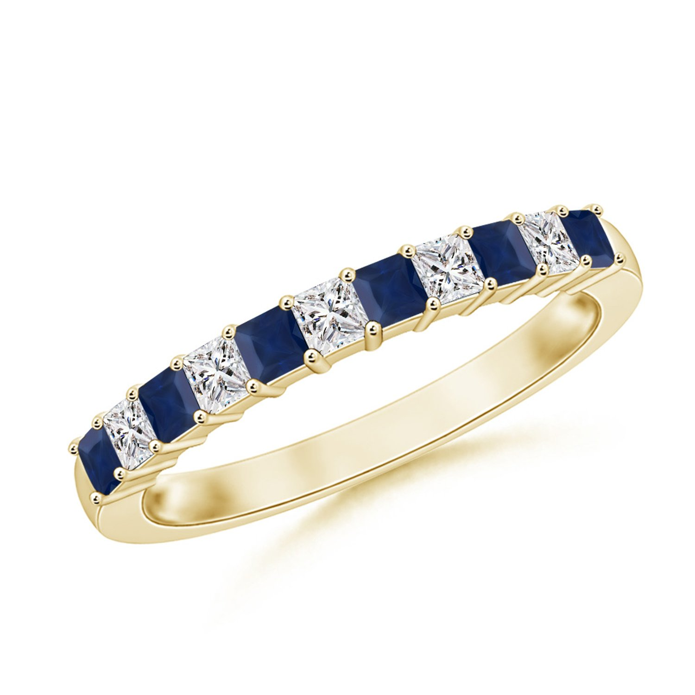 Blue Sapphire and Diamond Semi Eternity Classic Wedding Band in 14K Yellow Gold (1.9mm Blue Sapphire)