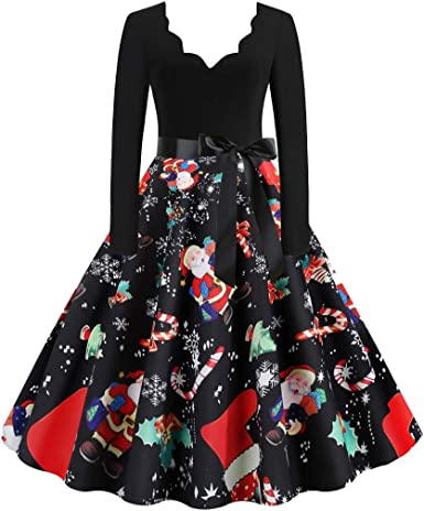 Donna manica lunga SANTA CLAUSE Natale Xmas Swing Svasato Skater Dress
