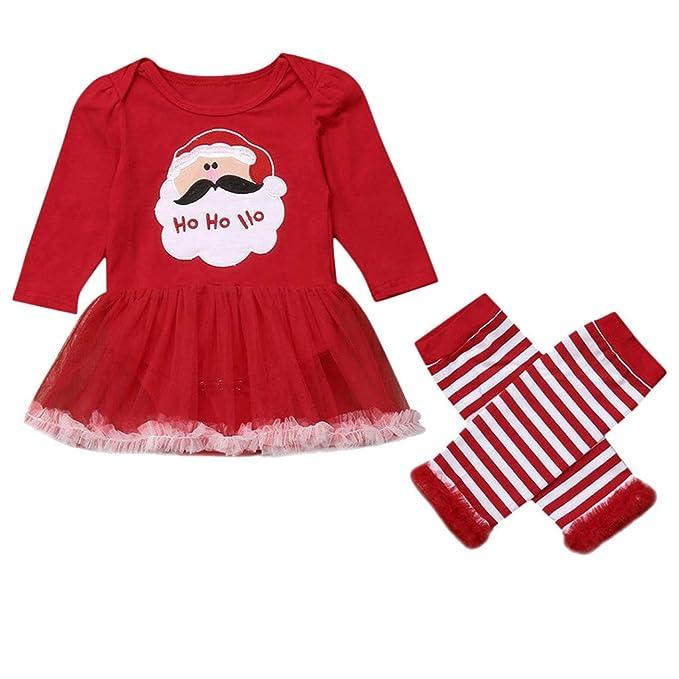 feiXIANG Vestito Cerimonia Nuziale Principessa Stampato Babbo Natale  Pantaloni in Pizzo a Righe Abito da Sera 6a6bbafbe0c