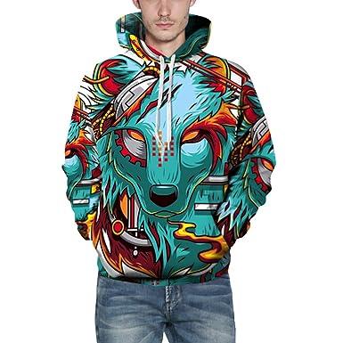9824f2e449152 Survetement Homme Vtops Hommes Occasionnels Automne Hiver 3D Impression à  Manches Longues Capuchon Sweat Top BlouseSweat-Shirt Long Homme Multicolore  ...