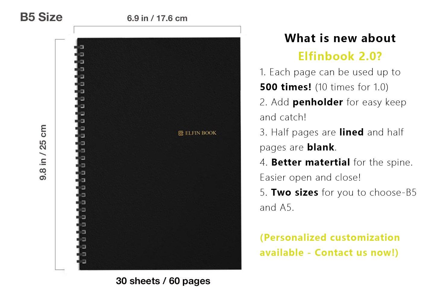 elfinbook inteligente portátil, almacenamiento en la nube, almacenamiento Flash, conexión App,: Amazon.es: Oficina y papelería