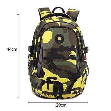 Causado Camuflaje Hombres Mochila Bolsa Mochila de Viaje Bolsas para Cool Boy Mochilas Escolares para niño por el Lado Yellow Big: Amazon.es: Equipaje