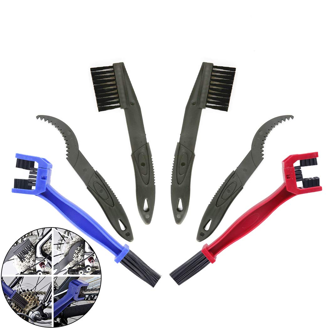Creatiee 6Pcs Bike Bicycle Clean Brush Kit/Cleaning Tools, Chain Gear Cleaner|Gears Cleaner Set Maintenance Cleaner Tools Accessories for Bike Chain Sprocket Cycling Corner Stain Dirt Clean