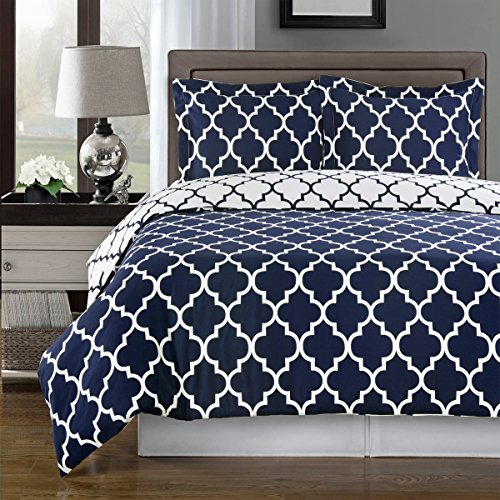 Reversible Meridian Duvet Cover Set, Elegant and Contemporary Duvet Set, 100% Egyptian Cotton 300 Thread Count, 3 Piece King/California King Size Duvet Cover Set, Navy and White