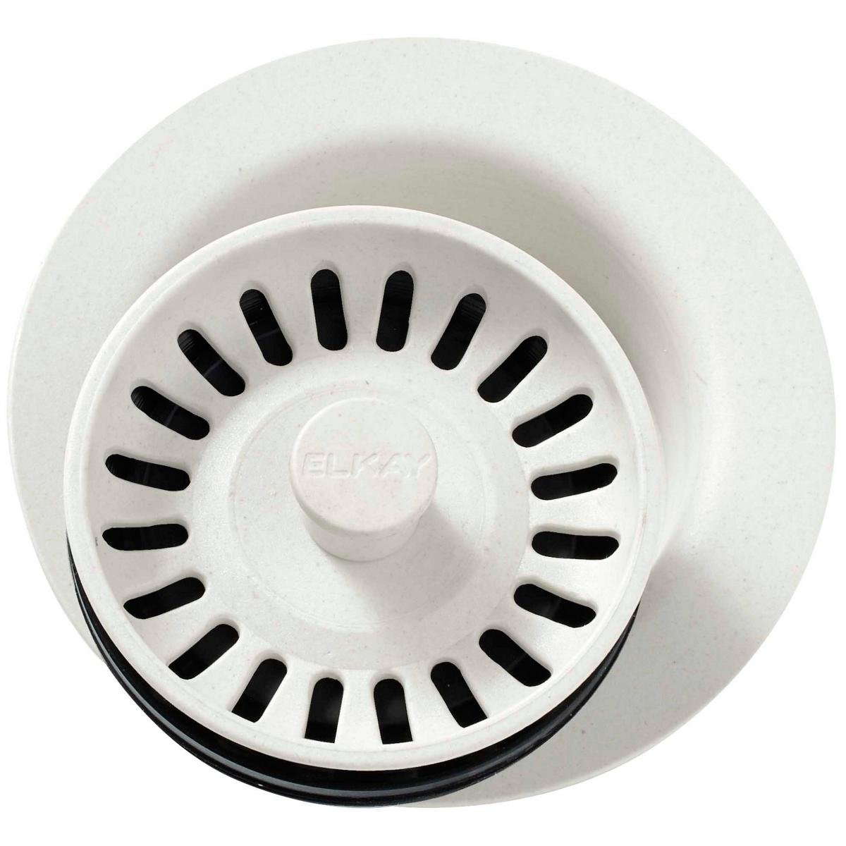 Elkay LKQD35PA Parchment Polymer Disposer Flange with Removable Basket Strainer and Rubber Stopper