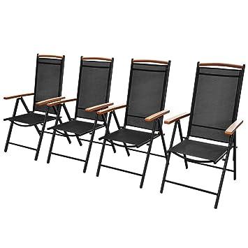 Luckyfu Este sillas de Exterior Plegables de Aluminio 4 Unidades 58 x 65 x 109 cm