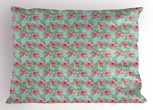 Twig Style Headboard - Lunarable Floral Pillow Sham, Hand Drawn Style Multi Petal Flowers with Lacy Leaves on Green Twigs, Decorative Standard Size Printed Pillowcase, 26 X 20 Inches, Turquoise Dried Rose Mint