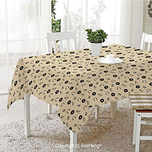 BeeMeng Dining Kitchen Polyester dust-Proof Table Cover,Music,Retro Records Headphones Microphones Casette Tapes Melody in Sixties Graphic Art Decorative,Cream Black,Rectangular,59 x 59 ()