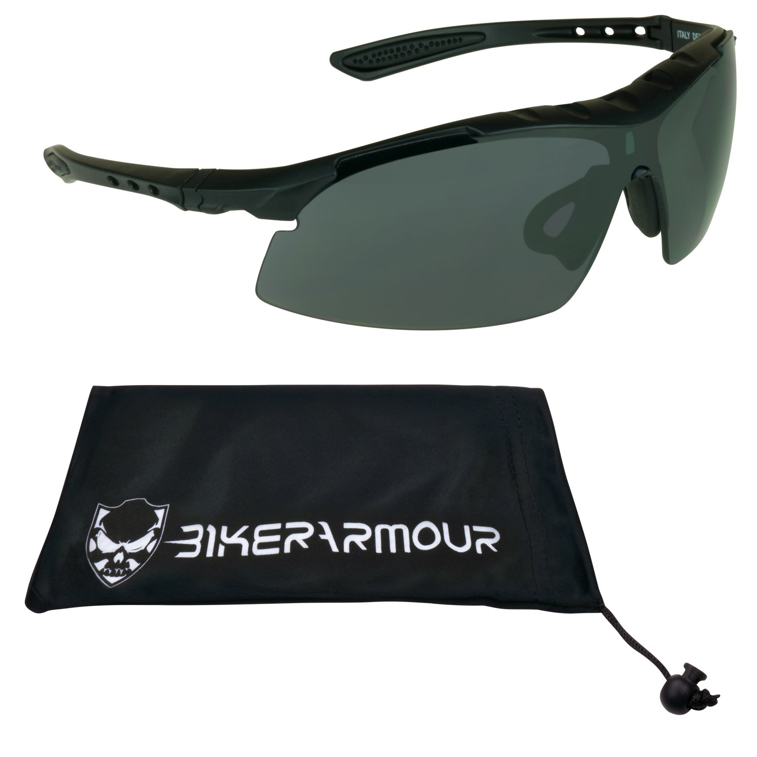 Z87.1 Satety Sunglasses for Cycling, Hunting, Shooting, Running, Motorcycle Riding, Tennis, Driving and All Sports Activities. Built in sweat proof foam cushion on top of frame. Medium to most Extra Large Head Sizes. Free Microfiber Cleaning Case Included