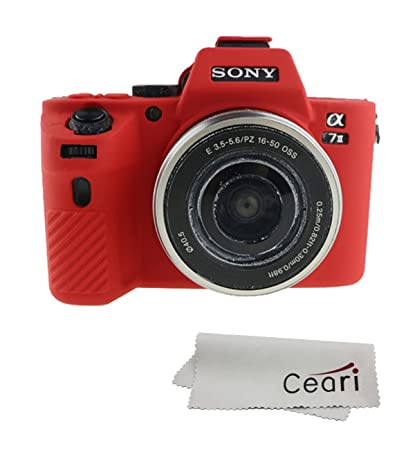 best service 3b1af fc44a CEARI Silicone Case Cover Protective Skin for Sony A7 II, A7R II, A7S II  SLR Camera - Red