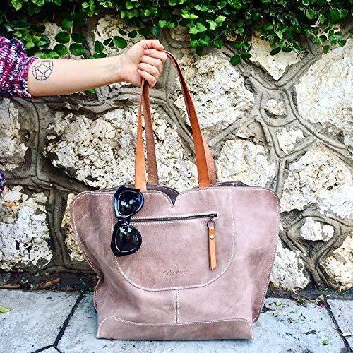 Handmade Leather Tote/Shoulder Bag for everyday use/Light Beige Genuine Leather ()