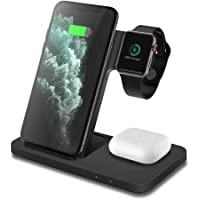 Wireless Charger, DOSHIN 3 in 1 15W Fast Wireless Charging Station for iPhone 12/12 Pro/SE/11/8/X, Samsung Galaxy S20…