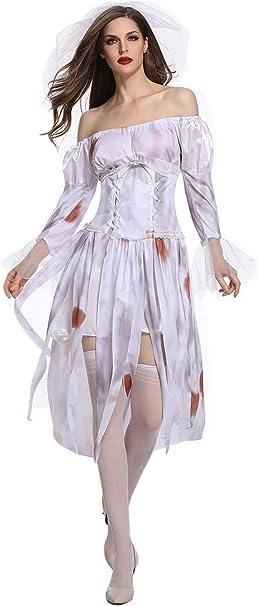 Amazon.com: Disfraz de Halloween para mujer de fantasma de ...