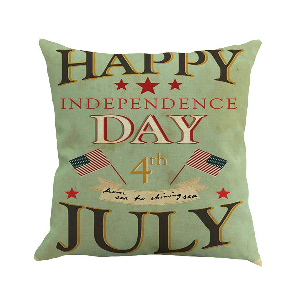 Weiliru Independence Day Linen Cushion Cover for Chair Decor Handmade Decorative Pillowcase