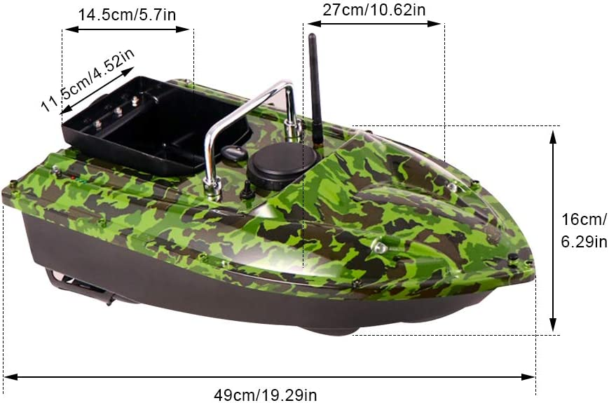 Waterproof Bait Remote Control Boat with Dual Motors HENGGE Fishing Bait Boat-Remote Control-Fishfinder-Fishing Remote Control Boat Carrying Bait 1.5Kg