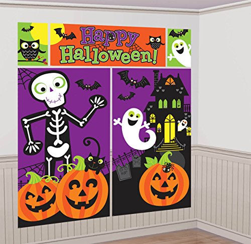 [Amscan Family Friendly Halloween Trick or Treat Scene Setters Room Decorating Kit, Multicolor, 59