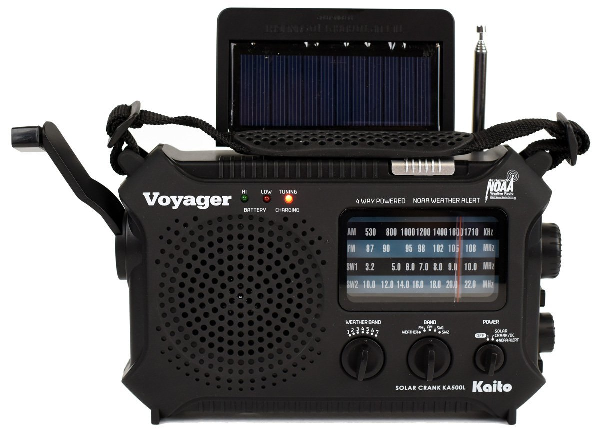 Kaito KA500L 4-Way Powered Emergency AM/FM/SW NOAA Weather Alert Radio with Solar,Dynamo Crank,Flashlight and Reading Lamp, with Larger Battery and Solar Panel, Black by Kaito