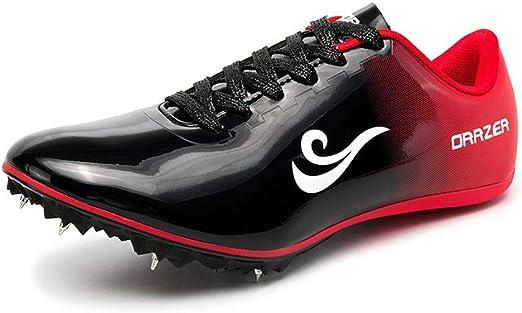 JJK Los Hombres De Los Zapatos De Pista Y Campo, Atletismo Unisex Sprint Spikes Zapato Ligero Running Up Competición del Salto De Formación Zapatilla De Deporte De Cordón De Zapato,Negro,36: Amazon.es: Hogar