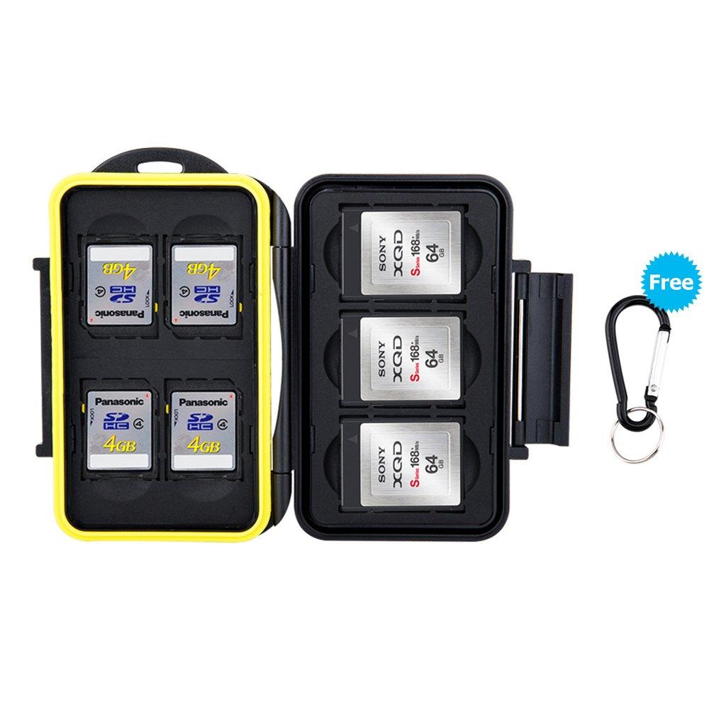 JJC Estuche impermeable para tarjetas de memorias 4 x tarjetas SD SDHC SDX 2 x tarjetas Compact Flash CF con mosquet/ón