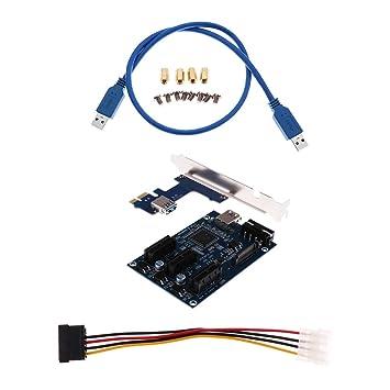 Dolity Expansión de Tarjeta Gráfica PCIe PCI-E 1x a 3 puertos 1 x Longitud del cable USB externo vertical Riser: 615mm