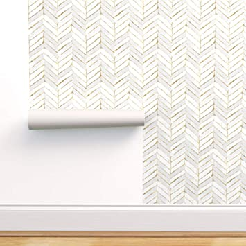 Spoonflower Peel And Stick Removable Wallpaper Chevron White Stripe Herringbone Mod Gold Look Print Self Adhesive Wallpaper 12in X 24in Test Swatch Amazon Com
