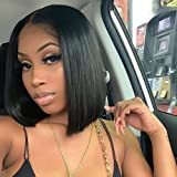 AISI QUEENS Black Bob Wig Short Straight T Lace Front Wigs for Women Middle Part Synthetic Hair Wigs 150% Density Hair Heat R