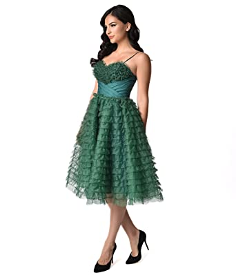 1950s style a line sweetheart dress green teal
