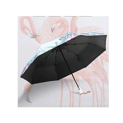 Paraguas Sombrilla Plegable automático Refuerzo Sen línea Femenina Simplicidad Retro Reina QIQIDEDIAN (Diseño : Flamingo, Tamaño : Three Fold Umbrella): ...