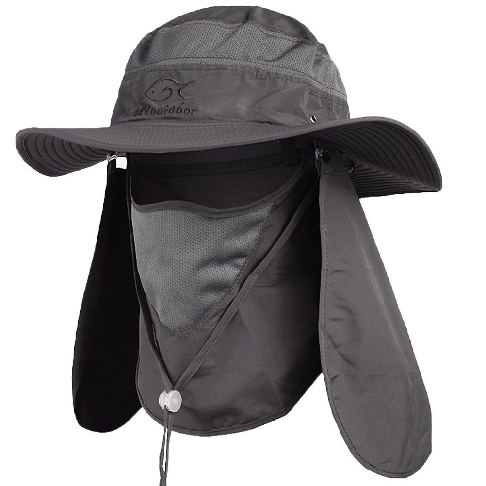DDYOUTDOOR 07-281 Fashion Summer Outdoor Sun Protection Fishing Cap Neck Face Flap Hat Wide Brim (Dark Gray)