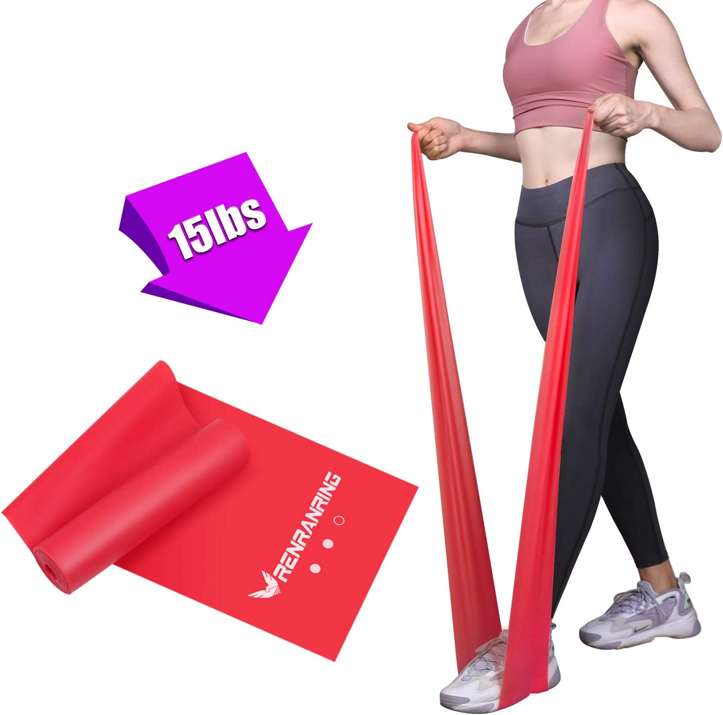 RENRANRING Resistance Bands, Exercise Bands for Physical Therapy, Yoga, Pilates, Rehab and Home Workout, Non-Latex Elastic Bands Include Door Anchor