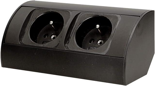 1.4 Meter Kabell/änge Orno AE-13133//W Tisch Steckdose 2-fach mit 2x USB Ladeger/ät 3680W Schuko Farbe: Schwarz