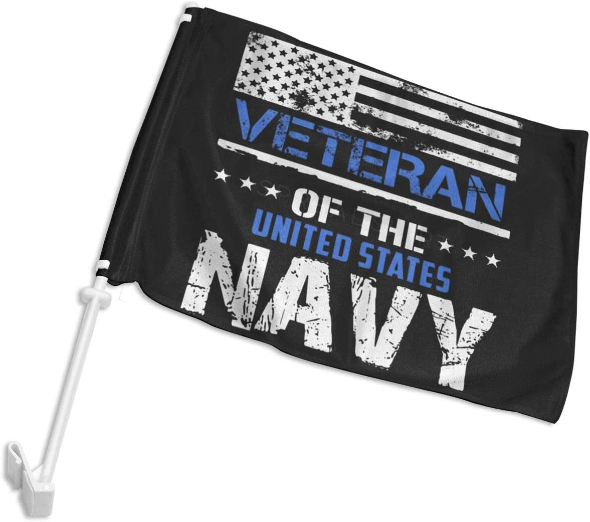 "POYOMUK US Navy Veteran Car Flag Auto Window Banner - Double Sided 12""X18"" Polyester Garden Flag Banner Decorative Flag Garden Outdoor Decor - Without Flagpole"