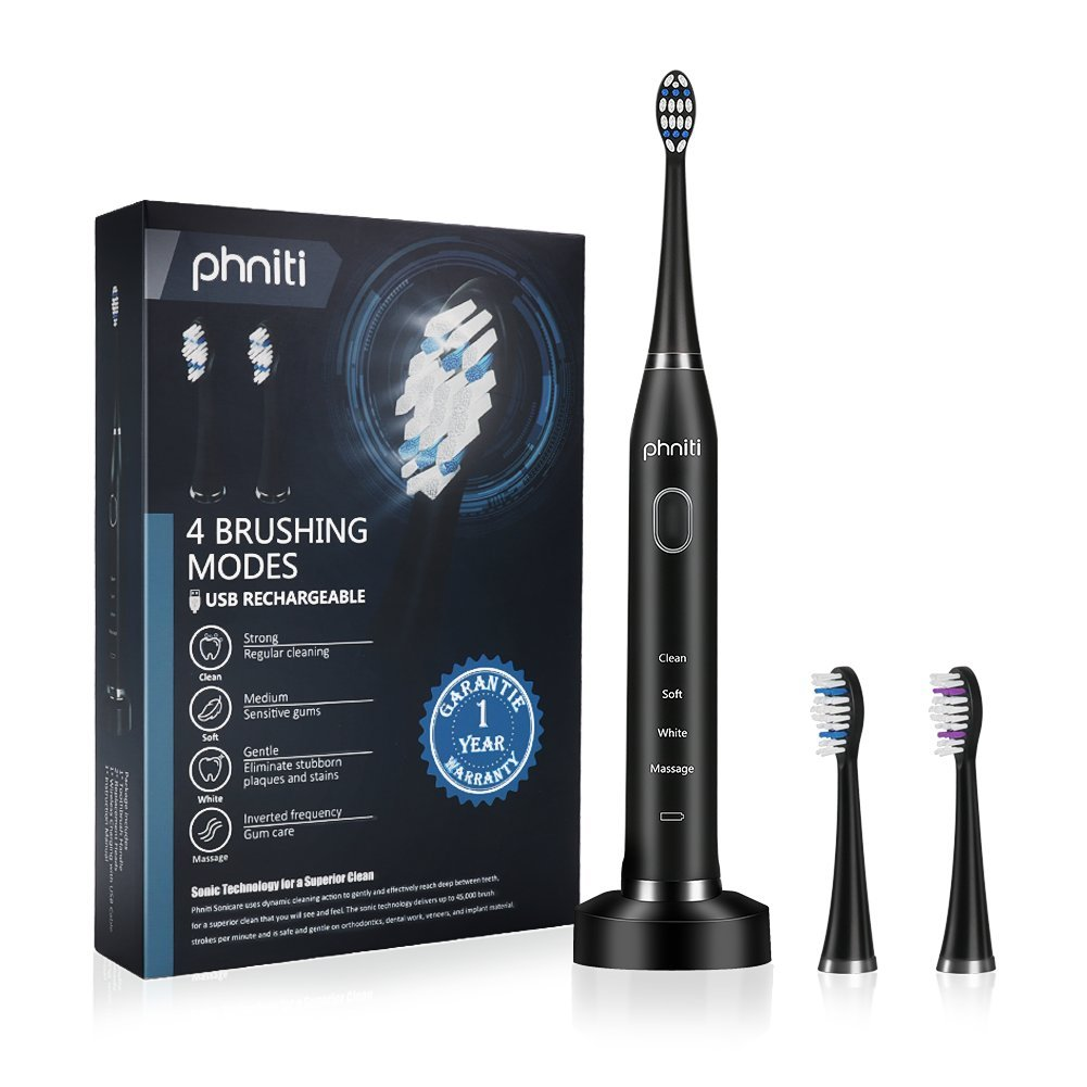 Sonic Electric Toothbrush for Adults with Wireless Charging Base, 2 Replacement Brush Heads by Phniti, Black