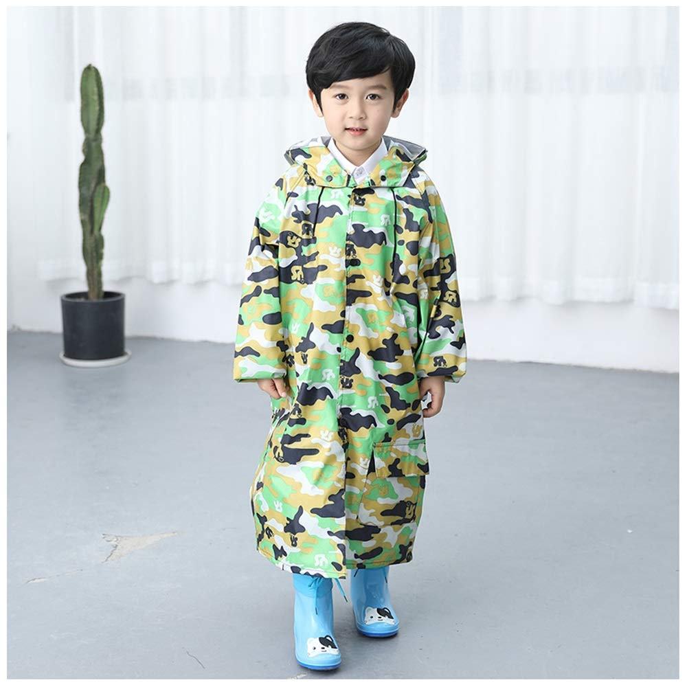 Children's raincoat AINUO Impermeabile per Bambini Asilo Ragazzo Ragazza Bambino Impermeabile Bambino Grande Poncho Esterno Scuola primaria (Color : Blue Camouflage, Dimensione : M)