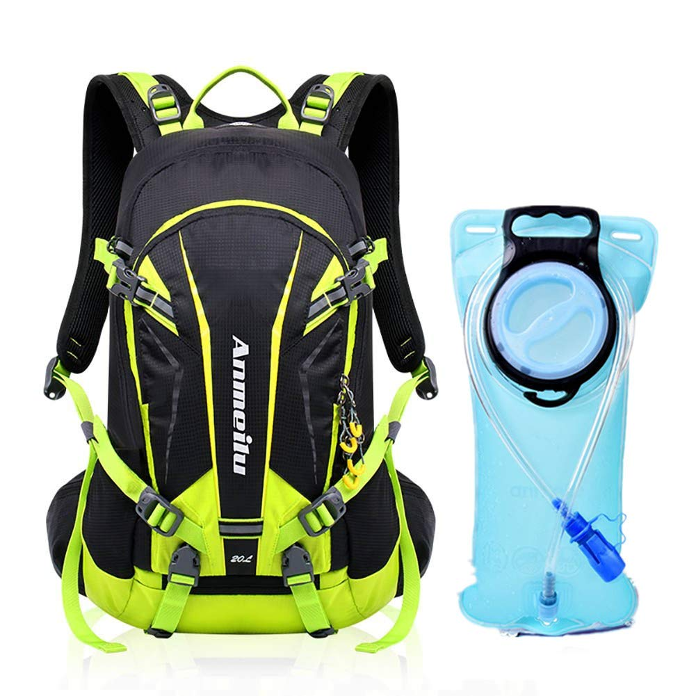 Hydration Backpack with 2 Liter Bladder and Long Drinking Tube Mouthpiece Detachable Phone Pocket, Multiple Compartments, Whistle, Helmet Net and Waterproof Cover Cycling, Hiking, Biking and Climb