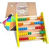aGreatLife® Abaco in Legno Giocattolo Educativo per Bambini con Kit Puzzle Magnetico: Il Miglior Gioco per Contare con Perline in Legno dal Colore Vivace e Sicure per i Bambini – Ideale per Insegnare la Matematica ai più Piccoli