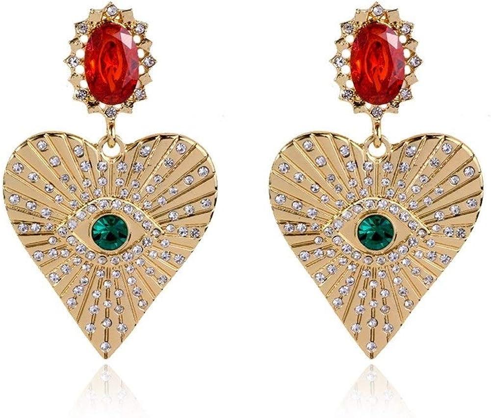 Pendientes Mujer Pendientes Ear Cuff En forma de corazón pendientes de diamantes de piedras preciosas pendientes temperamento creativo del ojo