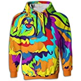 QQMIMIG Unisex Orange Skull 3D Printed Pullover Long Sleeve Fleece Hooded Sweatshirts with Pockets