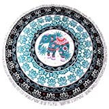 lei xiao jie Same Pattern Different Quality 2018 New Developed Material Thick Round Beach Towel Round Beach Blanket 100% Microfiber Terry Quality Tassels 62 Inches Elephant