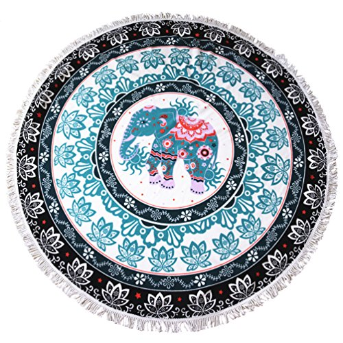 lei xiao jie 2019 New Developed Thick Round Beach Towel Round Blanket 100% Microfiber Terry Cloth Quality with Tassels 62 Inches Elephant Great Gift Idea (Beach Elephant)