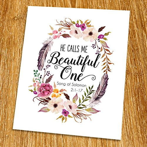 Solomon 2:1-17 He calls me beautiful one Print (Unframed), Watercolor Flower, Scripture Print, Bible Verse Print, Christian Wall Art, Living Room Decor, 8x10
