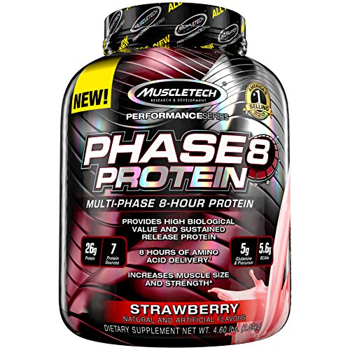 MuscleTech Phase8 Protein Powder, Sustained Release 8-Hour Protein Shake, Strawberry, 4.37 Pounds (1.98kg)