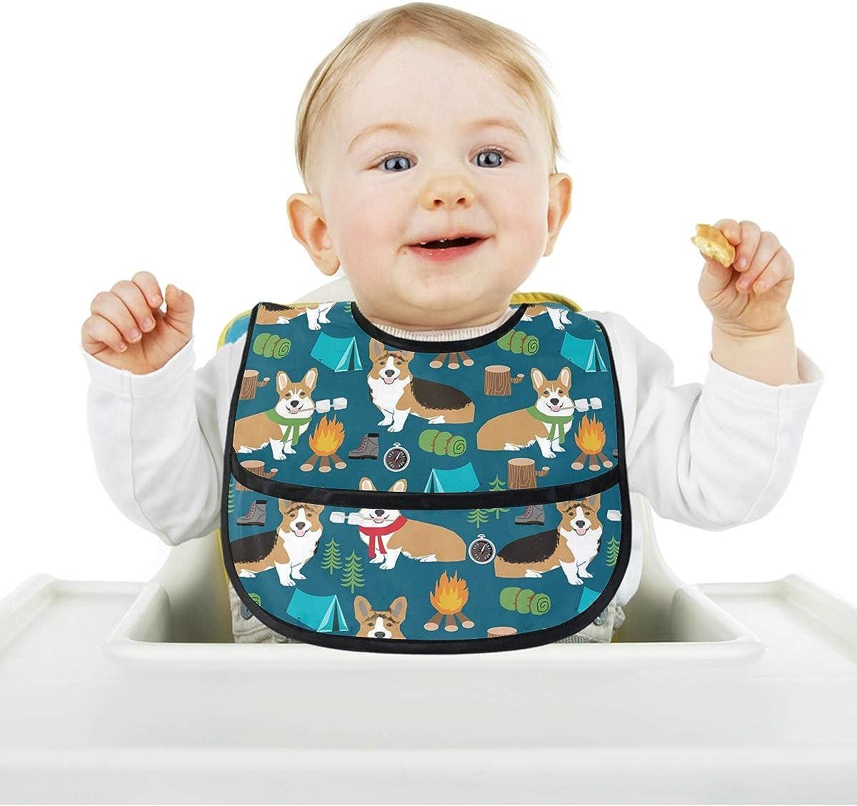 Baby Bibs with Catcher Pocket Burp Cloth Feeding Bib Corgi Dog Camping