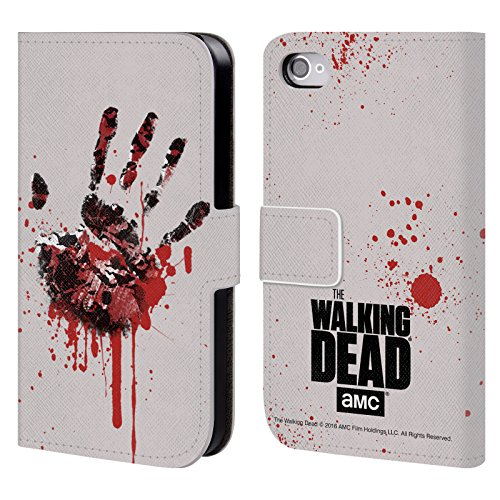 Officiel AMC The Walking Dead Main Silhouettes Étui Coque De Livre En Cuir Pour Apple iPhone 4 / 4S