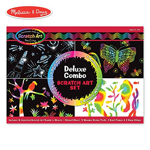 Melissa & Doug Scratch Art Deluxe Combo Set (Arts & Crafts, Hides Colors & Patterns, Easy to Use, Supplies for 16 Projects, 13.75